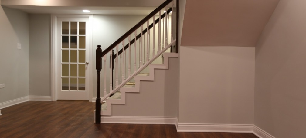 Stairs to a basement family room