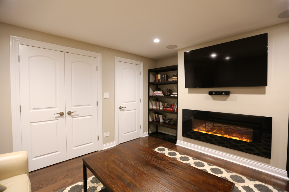 Family-room with a fireplace in Glenview, IL